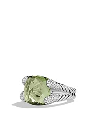 David Yurman Color Cocktail Ring With Prasiolite And Diamonds Silver Green