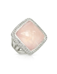 Sho London 18K Gold V Seal Rose Quartz Victoria Ring Pink