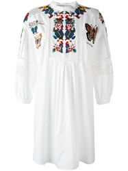 Valentino Butterfly Embroidered Tunic Dress White