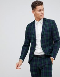 Selected Homme Blackwatch Green Check Suit Jacket In Skinny Fit Dark Green