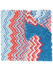 Missoni Zig Zag Scalloped Scarf Women Polyester Viscose One Size Blue