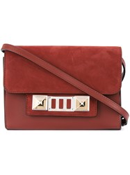 Proenza Schouler Leather Nubuck Ps11 Wallet With Strap Red