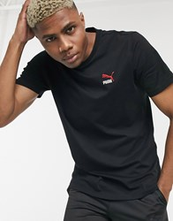 Puma Classics Embroidered T Shirt In Black