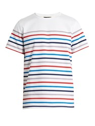 A.P.C. Striped Crew Neck Cotton T Shirt White Multi