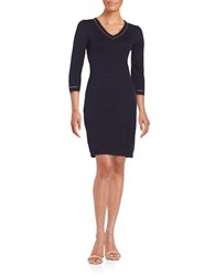 Calvin Klein Studded V Neck Sweater Dress Twilight