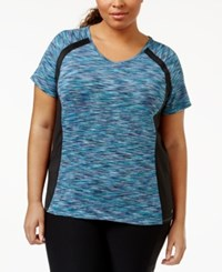 Ideology Plus Size V Neck Active Tee Only At Macy's Teal Multi