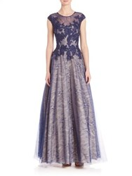 Basix Black Label Cap Sleeve Lace Gown Navy