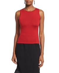 Oscar De La Renta Sleeveless Cashmere Blend Shell Ruby Red Size Petite M