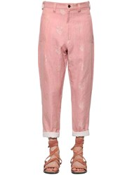 Ann Demeulemeester Embroidered Cotton And Linen Pants Pink