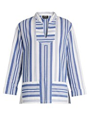 A.P.C. Tinos Striped Cotton Top Blue White