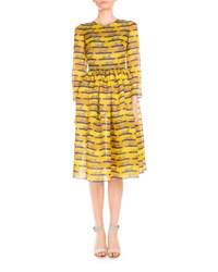 Mary Katrantzou 3 4 Sleeve Striped Lion Print Dress Yellow