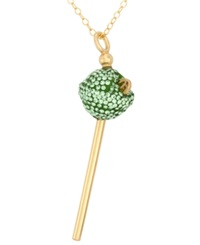 Sis By Simone I Smith 18K Gold Over Sterling Silver Necklace Lime Green Crystal Mini Lollipop Pendant