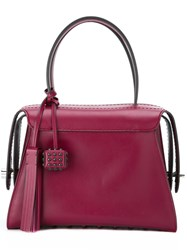 Tod's Studded Cube And Tassel Tote Pink Purple
