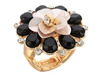 Guess Flower Cocktail Ring Gold Jet Ivory Ring
