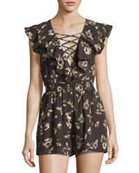 Moon River Lace Front Ruffled Floral Romper Olive