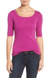 Caslonr Women's Caslon Ballet Neck Cotton And Modal Knit Elbow Sleeve Tee Purple Vintner