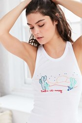 Out From Under Embroidered Tank Top White