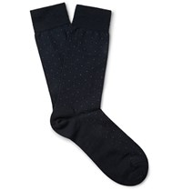 Marcoliani Pin Dot Merino Wool Blend Socks Midnight Blue