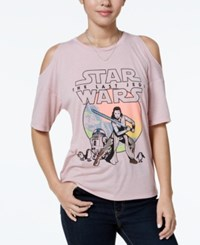 Star Wars The Last Jedi Juniors' Cold Shoulder Graphic T Shirt Heather Pink