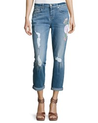 7 For All Mankind Josefina Embroidered Botanical Relaxed Jeans Indigo
