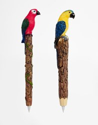 Paperchase Let's Squawk Parrot Pens Set Of 2 Multi Red