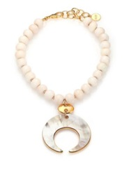 Nest Bone And Horn Beaded Crescent Pendant Necklace White And Gold