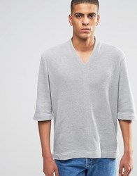 Asos Textured V Neck Jumper With High Neck Grey