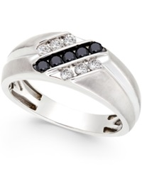 Macy's Men's Black And White Diamond Ring In Sterling Silver 1 2 Ct. T.W.