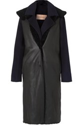 Yves Salomon Layered Cashmere And Wool Blend And Shearling Coat Navy