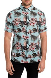 7 Diamonds Men's Palapa Funk Print Woven Shirt Mint