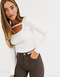 Lost Ink Fitted Sweater With Strap Detail Cream