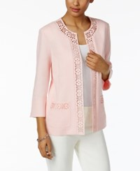 Alfred Dunner Rose Hill Laser Cut Open Front Jacket Blush