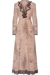 Red Valentino Redvalentino Lace Trimmed Printed Stretch Silk Georgette Gown Blush