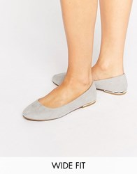 New Look Wide Fit Luna Metal Heel Ballerina Grey