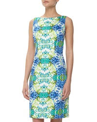 Chetta B Floral Mirror Print Sheath Dress Blue White