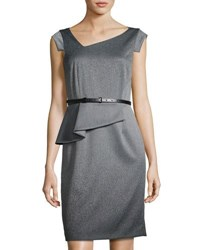 Tahari By Arthur S. Levine Asymmetric Neckline Ombre Suiting Dress Gray Black