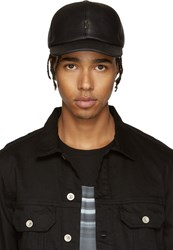 Neil Barrett Black Leather Thunderbolt Cap