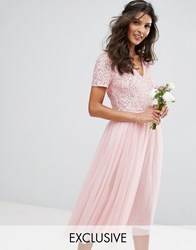 Maya V Neck Midi Dress Dress With Delicate Sequin And Tulle Skirt Pink