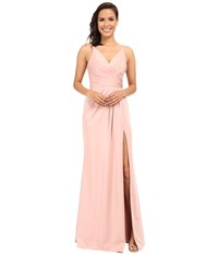 Faviana Faille Satin V Neck Gown With Draped Skirt Dusty Pink Women's Dress