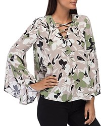 B Collection By Bobeau Dawn Floral Print Bell Sleeve Blouse Boa Floral Print