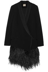 Haute Hippie Satin And Feather Trimmed Crepe Blazer Black