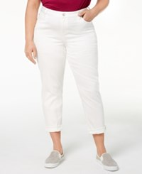Celebrity Pink Plus Size Boyfriend Fit Ankle Jeans Optic White