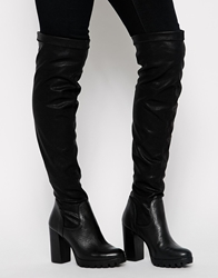 Carvela Want Over The Knee Grunge Sole Boots Black
