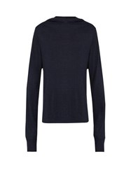 Denis Colomb Hooded Silk Blend Sweatshirt Navy
