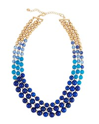Lydell Nyc Multi Row Graduated Bead Necklace Blue