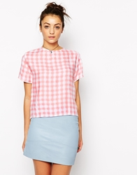 Motel Prana T Shirt Blouse In Gingham Pink