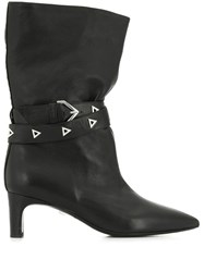 Grey Mer Buckle Detail Boots Black