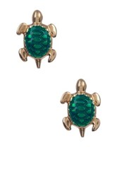 Candela 14K Gold Enamel Turtle Stud Earrings Green