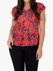 Chesca Pleated Floral Print Top Coral