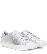Marc Jacobs Metallic Leather Sneakers Silver